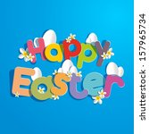 happy easter card vector... | Shutterstock .eps vector #157965734