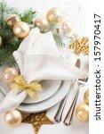 festive christmas table setting ... | Shutterstock . vector #157970417