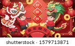 kids performing lion and dragon ... | Shutterstock .eps vector #1579713871
