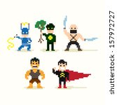set of pixel art posing... | Shutterstock .eps vector #157972727