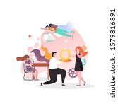 young man proposing marriage to ... | Shutterstock .eps vector #1579816891