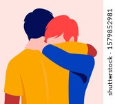 two men hug each other. best...   Shutterstock .eps vector #1579852981