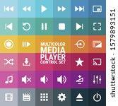 media player control icon set...