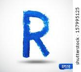 Alphabet Letter R. Watercolor...