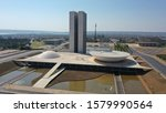 Aerial photo of the National Congress, seat of the Brazilian Legislature, located in Brasilia, capital of Brazil.