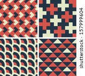 geometric seamless patterns set....   Shutterstock .eps vector #157999604