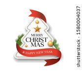 merry christmas label paper red ... | Shutterstock .eps vector #1580004037