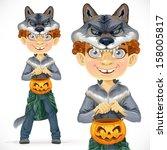 cute boy dressed as a werewolf... | Shutterstock .eps vector #158005817
