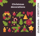 christmas items collection.... | Shutterstock .eps vector #1580071594