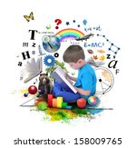 a young boy is reading a book... | Shutterstock . vector #158009765