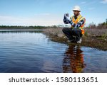 Marine biologist analysing...