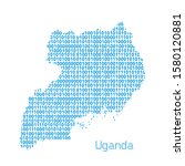 map of uganda from binary code... | Shutterstock .eps vector #1580120881