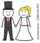 bridal couple man and woman | Shutterstock .eps vector #1580131591