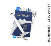 passports  boarding passes and... | Shutterstock .eps vector #1580144167