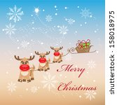 merry christmas greeting card... | Shutterstock .eps vector #158018975