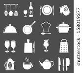 kitchen utensil icons set | Shutterstock . vector #158019377