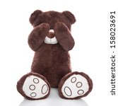 Lonely Teddy Bear Covering Eyes ...