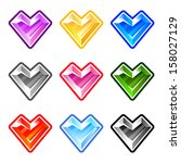 colorful heart diamonds