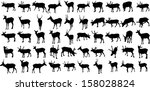 set of 50 vector silhouettes of ... | Shutterstock .eps vector #158028824