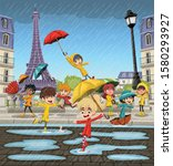 rainy day with french cartoon... | Shutterstock .eps vector #1580293927