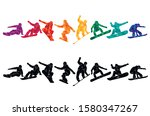 snowboard  snowboarders ... | Shutterstock .eps vector #1580347267