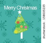 merry christmas card | Shutterstock .eps vector #158035235