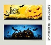 set of horizontal halloween... | Shutterstock .eps vector #158036399