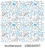 back to school doodle | Shutterstock .eps vector #158036507