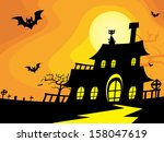 creepy house silhouette for... | Shutterstock .eps vector #158047619