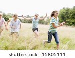 five young friends running in a ... | Shutterstock . vector #15805111