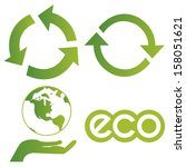 abstract different eco symbols... | Shutterstock .eps vector #158051621