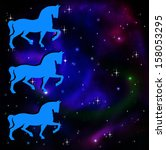 silhouettes of three horse on a ...   Shutterstock . vector #158053295