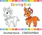 Christmas Deer. Coloring Book...