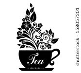 cute tea time card. cup with... | Shutterstock .eps vector #158057201