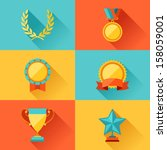 trophy and awards in flat... | Shutterstock .eps vector #158059001