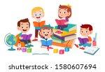 happy cute kids boy and girl... | Shutterstock .eps vector #1580607694