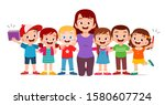happy cute kids smile with... | Shutterstock .eps vector #1580607724