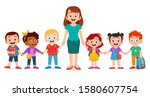 happy cute kids smile with... | Shutterstock .eps vector #1580607754