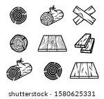 wood planks  flooring and logs... | Shutterstock .eps vector #1580625331