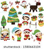 happy kids at christmas party | Shutterstock .eps vector #1580663104