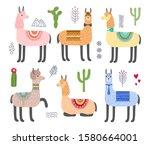 set of alpacas  llamas and...   Shutterstock . vector #1580664001