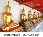 Golden Buddha Statues Sitting...