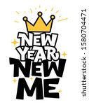 new year new me hand drawn... | Shutterstock .eps vector #1580704471