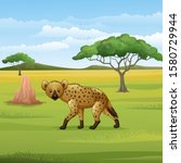 Cartoon Hyena In The Savannah