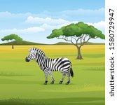 Cartoon Zebra Standing In The...