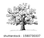 hand drawn summer tree on field.... | Shutterstock .eps vector #1580730337