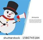 snowman talk announcing through ... | Shutterstock .eps vector #1580745184