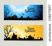 set of horizontal halloween... | Shutterstock .eps vector #158075897