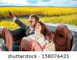 smiling couple sitting in their ... | Shutterstock . vector #158076431