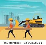 builders working under... | Shutterstock .eps vector #1580815711